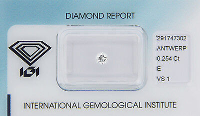 Diamant 0,254 ct E VS 1 IGI Zertifikat  - Sealed -