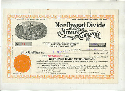 1919 Northwest Divide Mining Company Nevada Stock Certificate