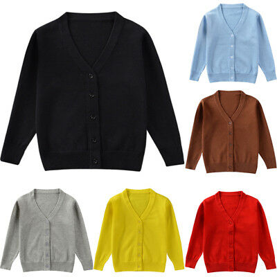 Toddler Kids Baby Boy Girl Long Sleeve Knit Sweater Cardigan Jacket Coat Outwear