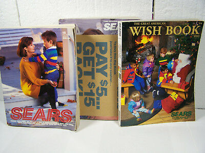 3 vintage 1990'S Sears Catalogs 1993 TOY CHRISTMAS WISH BOOK 1991 1992 FALL etc