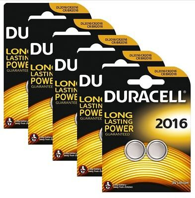 10 x Duracell CR2016 3v Lithium Coin Cell Button Battery 2016 DL2016 BR2016