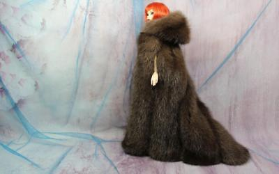 ~Dark Taupe Gray Mink Fur, Long Hooded Cape 4 Evangeline Ghastly doll-by dimitha