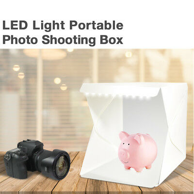 LED Light Portable Photography Studio Photo Tent Light Box w/ 2 Color Backdrops