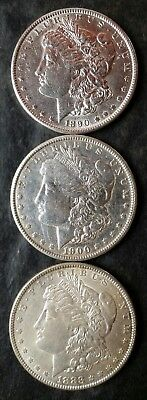 Lot of Three $1 Morgan Silver Dollars