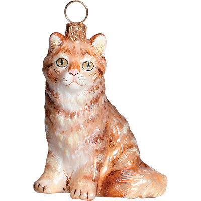 Maine Coon Red Cat Glass Polish Christmas Ornament Decoration Made in Poland