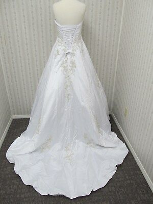 NWT By PRIVATE COLLECTION white beaded full A-line corset WEDDING GOWN sz 14