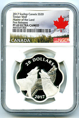 2017 Canada $20 Silver Proof Ngc Pf69 Timber Wolf Master Of Land First Releases