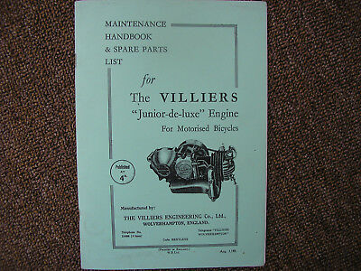 Maintenance Handbook & Spare Parts List For Villiers Junior-De-Engine