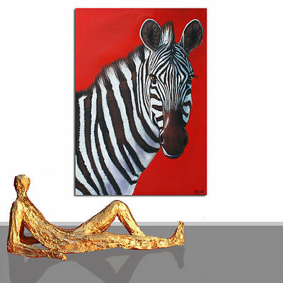 PAINTING # ZEBRA WHITE BLACK ART WALL DESIGN ANIMAL ORIGINAL FRAMED * 23 x 35