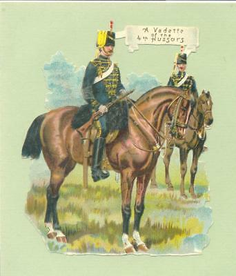 Victorian Die Cut Scrap, Military, Vedette 4th Hussars    Q79