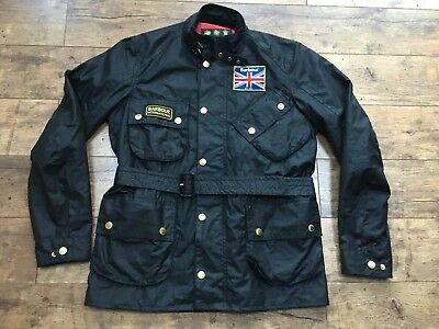 Men's Barbour International Union Jack Wax Belted Utility Jacket Medium Ex Con!