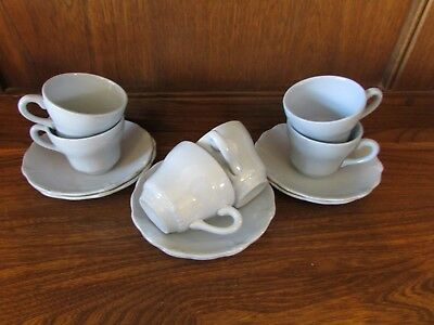 Utility 1940's Swinnertons~Chelsea Blue~Set of 6 Coffee/Espresso Cups&Saucers