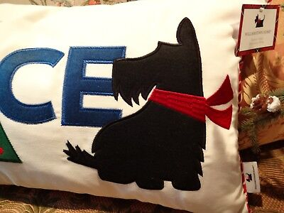 Fabulous Scottie Christmas Feathered Pillow. Scottish Terrier Home Decor.  #1