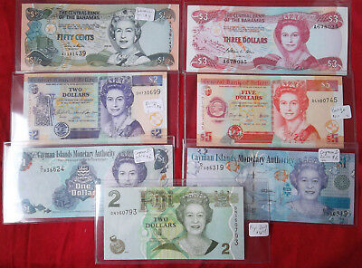 Seven (7) different Uncirculated British Commonwealth notes - Queen Elizabeth