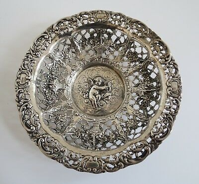 SIMON ROSENAU Antique German 800 Silver bowl RETICULATED devine cherub & lute