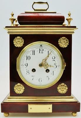 Exceptional Antique French 8 Day Solid Mahogany & Bronze Bracket Mantel Clock