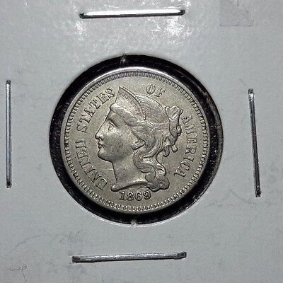 1869 Three Cent Nickel 3CN high grade AU