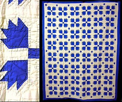 Antique/Vintage Hand Stitched Blue White Flying Geese Quilt Bed Spread Coverlet