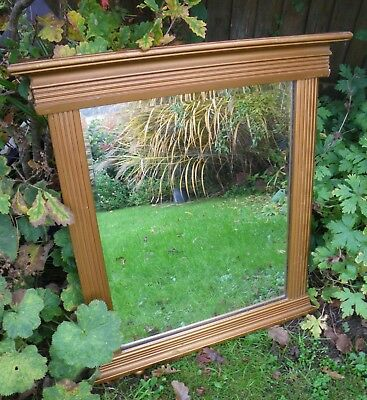 Antique Edwardian Small Gilt Wood Overmantel Bevelled Mirror~Neoclassical Style