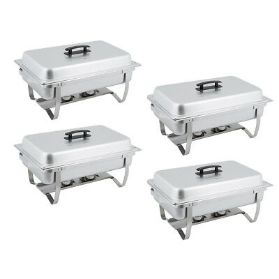4 PACK 8 Qt. Stainless Steel Chafer Chafing Dish Set for Catering / Buffet