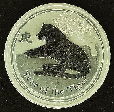 2010 Elizabeth II Australia 1oz Silver Year of the Tiger (b132g)