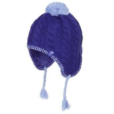 The North Face Fuzzy Ear Flap Beanie Lined Hat Lapis / Grapemist Blue Kids MED