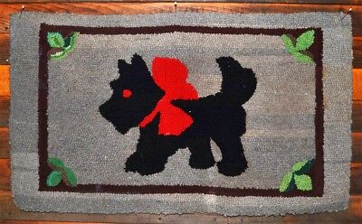 scotty dog rug wool hooked handmade 23 x 39 folk art antique original 1900
