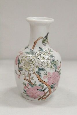 Vintage Chinese Porcelain Roses Blossoms Branches Bird Cabinet Vase Signed