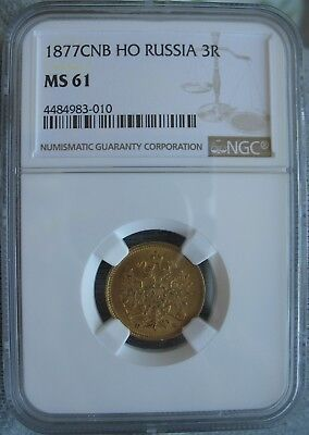 1877 С.П.Б НФ  Russia Gold 3 Roubles NGC MS-61