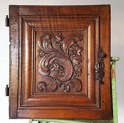 CABINET PANEL DOOR ANTIQUE FRENCH CARVED WOOD SALVAGED CHATEAU FURNITURE 18 th b
