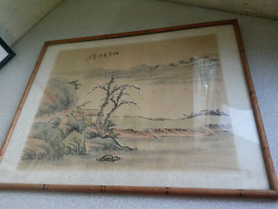 Vintage Chinese Signed Watercolour Painting On Silk - Country Scene