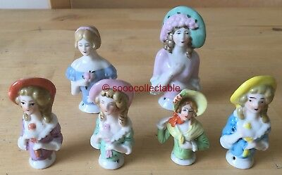 6 x vintage GERMAN porcelain SEWING HALF DOLLS 13542 813S