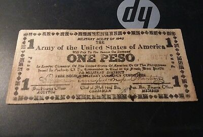 Military Script 1943 Army Of The United States Of America one Peso free negros