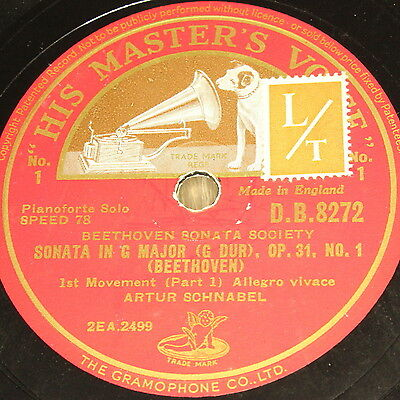 "ARTUR SCHNABEL ""Sonata in E Flat Major & G Major"" HMV 7Rec. Set 78rpm 12"""