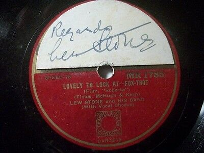 "LEW STONE & HIS BAND ""I Won't Dance / Lovely To Look At"" Zonophone autographed"