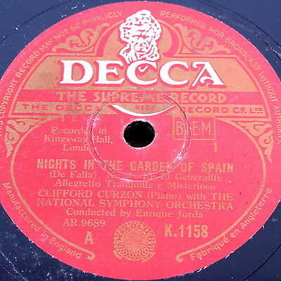 "CLIFFORD CURZON ""Nights in the Garden of Spain"" DECCA 3Rec. Set 78rpm 12"""