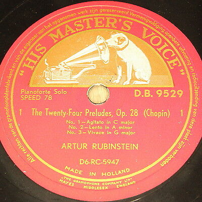 "ARTUR RUBINSTEIN ""The Twenty-Four Preludes, Op28 (Chopin)"" HMV 4RecSet 78rpm 12"""