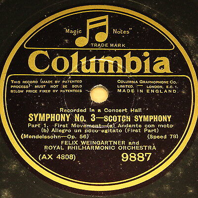 "FELIX WEINGARTNER w. Orch. ""Scotch Symphony"" Columbia 4 Rec. Set 78rpm 12"""