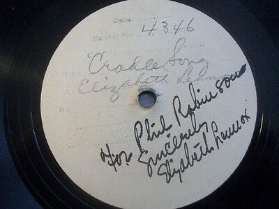 "ELIZABETH LENNOX ""Cradle Song"" Brunswick test record w. autograph 78rpm 12"""