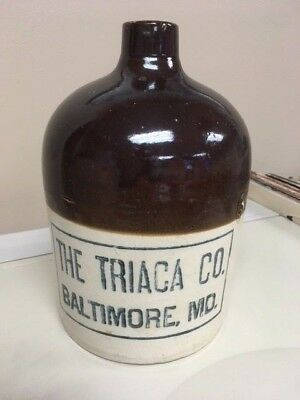 Baltimore, MD Stoneware Advertising Whiskey Jug. The Triaca Co. Maryland