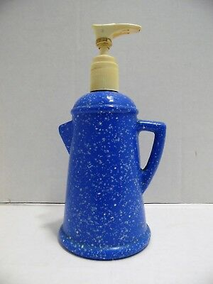 Vintage Avon Soap Lotion Dispenser Country Style Coffee Pot Blue Spatter