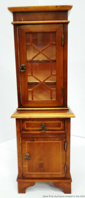 Handmade Vintage Miniature Yew Wood English Georgian Signed China Cabinet