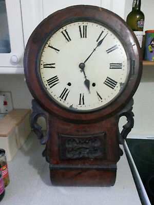 Antique Wooden American ? Carved Drop Dial Wall Clock - Restoration Project