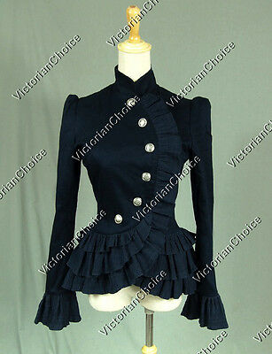 Victorian Blazer Riding Habit Winter Holiday Jacket Theater Costume NAVY C032 XL
