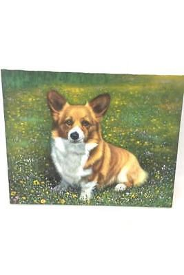 Original Oil Painting CORGI DOG In Field by Rose M. Sullivan