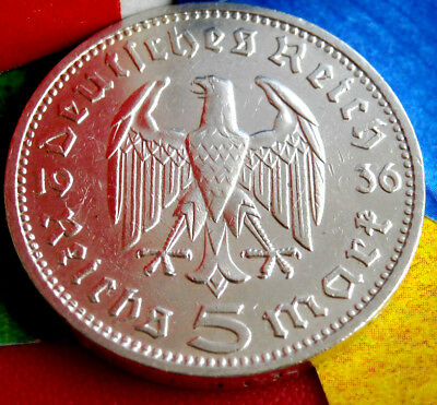 1936-D NAZI HINDENBURG 5 Mark .900 SILVER COIN-German WW2 GERMANY 5 ReichsMark