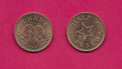 Ghana Rep Half Pesewa 1967 Unc Bush Drums,date Divided By Star,denomination Belo