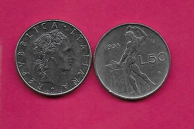 Italy Rep 50 Lire 1954R Xf Vulcan Standing At Anvil Facing Left Divides Date & V