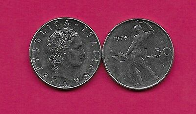 Italy Rep 50 Lire 1976R Xf Vulcan Standing At Anvil Facing Left Divides Date & V