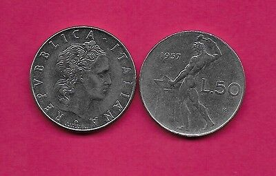 Italy Rep 50 Lire 1957R Xf Vulcan Standing At Anvil Facing Left Divides Date & V